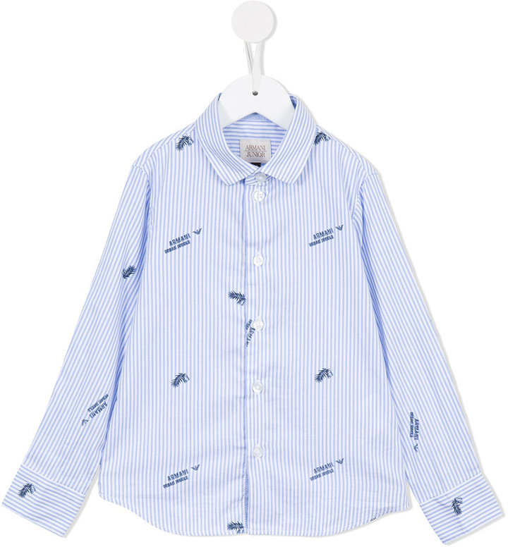 Armani Junior Armani Junior Urban Jungle striped shirt