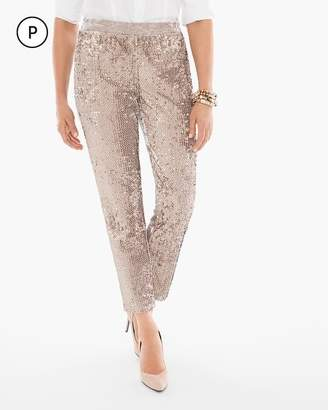 Petite Sequins and Panne Tapered Ankle Pants