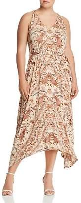 Lucky Brand Plus Printed Handkerchief-Hem Maxi Dress