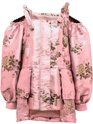 Fenty Puma by Rihanna Floral Cold-Shoulder Peplum Coat, Pink $3,200 thestylecure.com