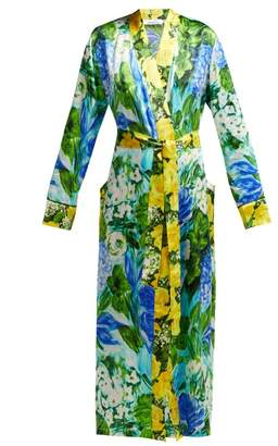 Richard Quinn - Watercolour Print Silk Satin Robe - Womens - Blue Print