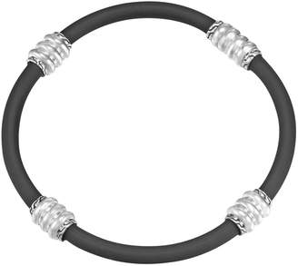 John Hardy Men's Bedeg Black Rubber Bracelet, Size L