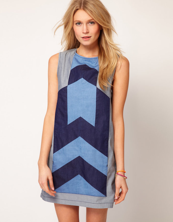 Asos Denim Dress with Chevron Panel