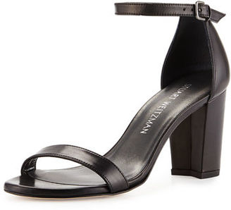 Stuart Weitzman Nearlynude Leather City Sandal $398 thestylecure.com