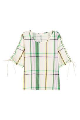 H&M Cotton Top with Lacing - White/checked - Women