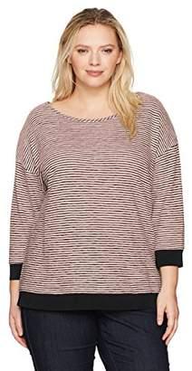 Jones New York Women's Plus Size Drop Shoulder Easy Body W/Knit Rib Trim