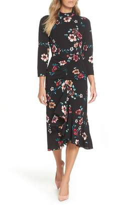 Eliza J Floral Ruffle Midi Dress