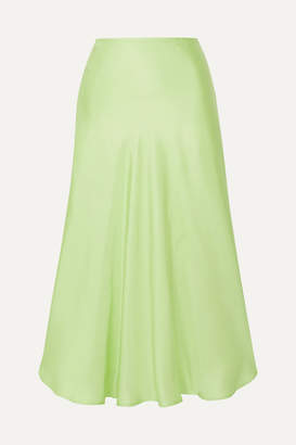 Maggie Marilyn Net Sustain Where I Want To Be Silk-satin Midi Skirt - Lime green