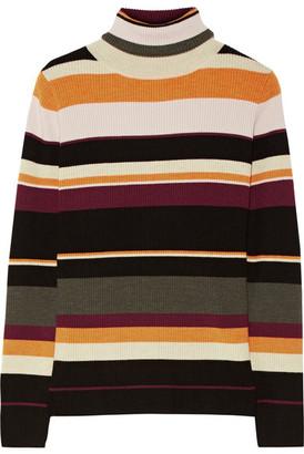 Sigrid Striped Ribbed Merino Wool Turtleneck Sweater - Burgundy