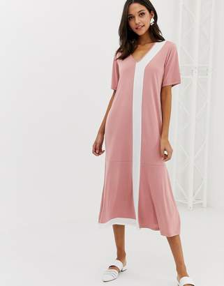 NATIVE YOUTH maxi t-shirt dress with peplum hem