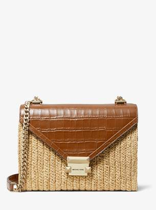 MICHAEL Michael Kors Whitney Large Raffia and Leather Convertible Shoulder Bag