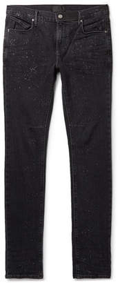 RtA Skinny-fit Paint-splattered Stretch-denim Jeans - Black