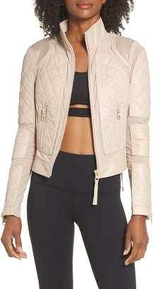 Blanc Noir Leather & Mesh Moto Jacket
