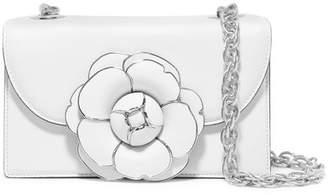 Oscar de la Renta Tro Embellished Leather Shoulder Bag - White