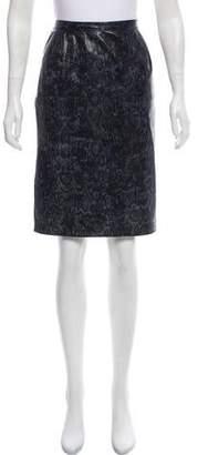 Ungaro Embossed Leather Knee-Length Skirt