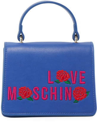 Love Moschino Top-Handle Bag with Logo Embroidery