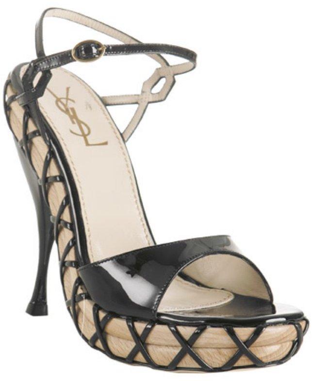 Yves Saint Laurent black patent 'Origami' platform sandals