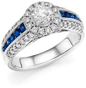 Bloomingdale's Diamond and Blue Sapphire Engagement Ring in 14K White Gold - 100% Exclusive
