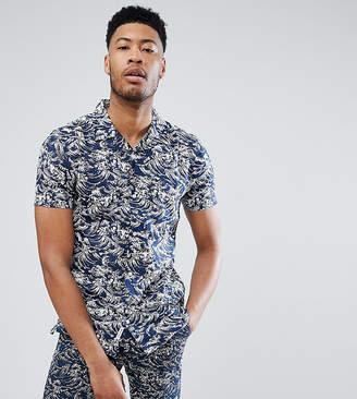 Bellfield Short Sleeve Revere Collar Shirt With Wave Print
