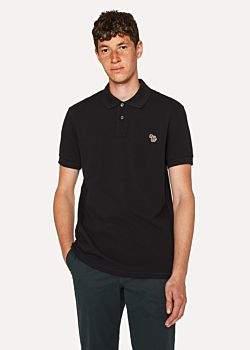 Paul Smith Men's Black Cotton-Piqué Zebra Logo Polo Shirt
