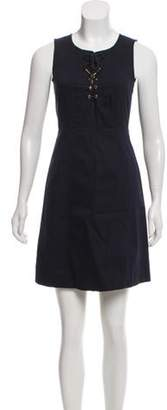 Derek Lam Lace-Up Mini Dress Blue Lace-Up Mini Dress