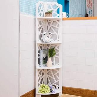 Ktaxon 4 Tiers Eco-friendly Wood-Plastic Composites Corner Shelves, White Free Standing Storage Organizer Display Rack