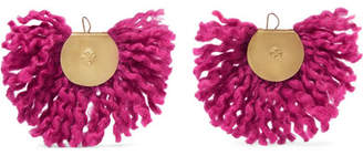 Katerina Makriyianni - Fan Fringed Gold-tone Earrings - Pink