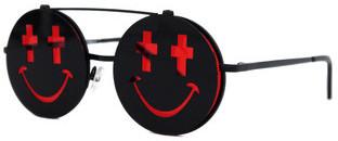 Linda Farrow Projects - Jeremy Scott Black & Red Smile Sunglasses