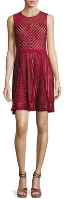 French Connection Fast Score Striped-Lace Dress, Red $168 thestylecure.com