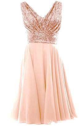 FNKS CRAFT Women's Sequins Prom Evening Dress Short Cocktail Homecoming Dress018 US