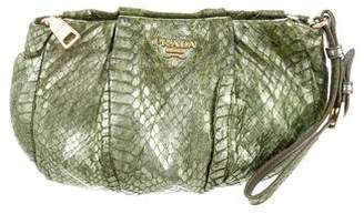 Prada Embossed Leather Trim Python Clutch