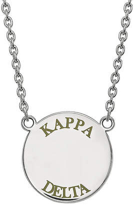 FINE JEWELRY Kappa Delta Enamel Sterling Silver Disc Pendant Necklace