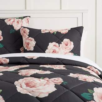 Pottery Barn Teen The Emily & Meritt Bed of Roses Comforter, Twin/Twin XL, Black Floral