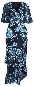 Saloni Women's Rose Silk Ruffle Midi Dress