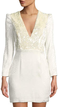 Free People Velvet-Bodice Long-Sleeve Jacquard Mini Dress, Ivory