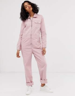 M.C. Overalls zip front boilersuit in dusty pink
