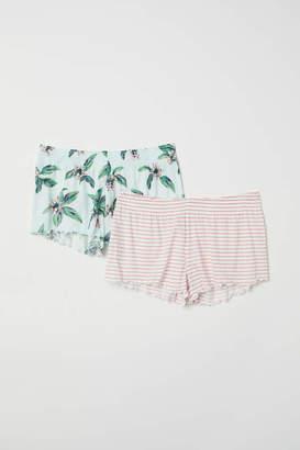 H&M 2-pack Pajama Shorts - Light turquoise/botanical - Women