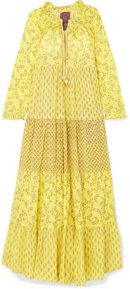 Yvonne S - Tiered Printed Cotton Maxi Dress - Pastel yellow
