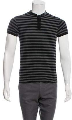 Saint Laurent Leather-Trimmed Striped Polo
