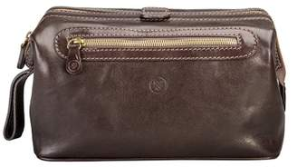 Maxwell Scott Bags Premium Quality Leather Large Wash Bag In Brown