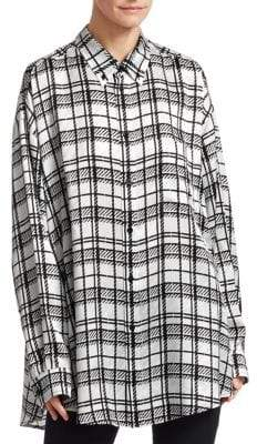 Balenciaga Long-Sleeve Silk Tartan Blouse