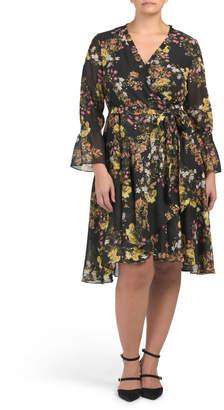 Plus Printed Chiffon Wrap Style Dress