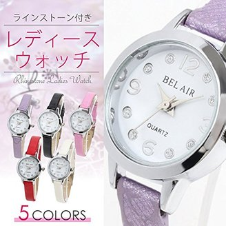 Bel Air [ベルエア 腕時計 レディース シンプル ウォッチ アナログ表示 ラインストーン付き 細身で上品なデザイン YH3 (シルバー×ピンク)
