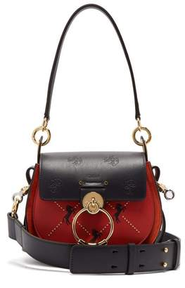 Chloé Tess Small Embroidered Leather Cross Body Bag - Womens - Red Multi