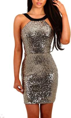Zilcremo Women Elegant Paillettes Sequins Club Bodycon Mini Party Dress L
