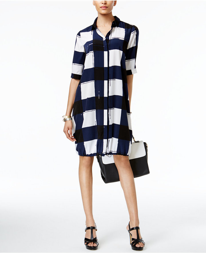 Alfani Alfani PRIMA Printed Bungee-Hem Shirtdress, Only at Macy's