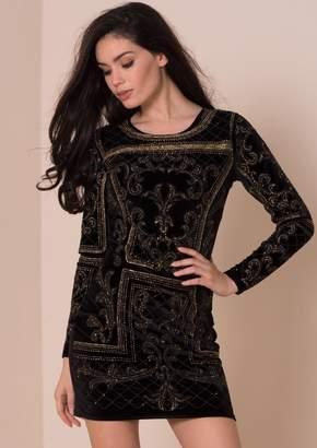 Missy Empire Missyempire Cyndi Black Velvet Embellished Bodycon Dress 51f1d663c