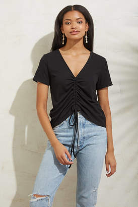 After Market Ribbed Ruched Front Top Black S