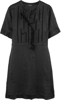 Isabel Marant - Ariana Ruffled Broderie Anglaise Ramie Mini Dress - Black $710 thestylecure.com