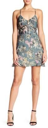 Haute Hippie V-Neck Chain Cami Slip Floral Print Silk Dress